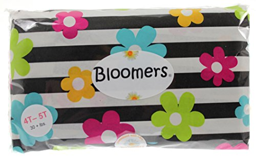 Bloomers disposable Single Use diaper / pullup, Change Kits for Life On The Go! (Youth  (up to 90 lbs), Black Stripe with Bright Flowers)