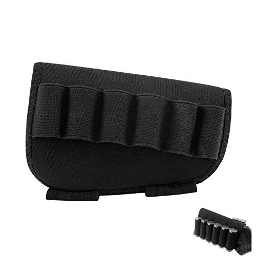 aiMaKE Tactical Rifle Shotgun Buttstock Cheek Rest Pouch Holder Pack with Ammo Carrier Case (Shotgun&Black)