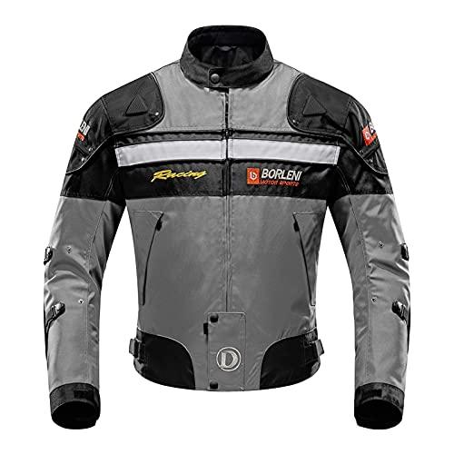 BORLENI Chaqueta de Moto Impermeable 5 Equipo de Protección de Cuerpo Completo para Motocicleta Chaqueta de Montar en Moto a Prueba de Viento Otoño Invierno Ropa Moto para Hombres Mujeres XL