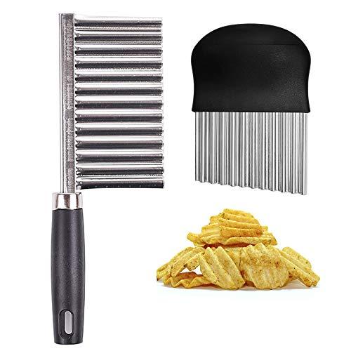 XGzhsa Kartoffelschneider, Crinkle Cutter Messer, 2 Stück Crinkle Schneidwerkzeug Pommes Frites Slicer Edelstahlklinge zum Hacken von Kartoffelgemüse