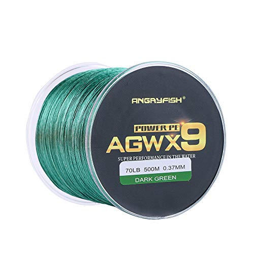 ANGRYFISH Super Power 9 Strands Braided Fishing Line,Cost-Effective Smooth Superline-Extremely Durable-Wonderful Tool for Fishing Enthusiast-Multiple Colors(Green,60LB/0.33MM-500M)