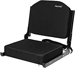 Jauntis Stadium Seats for Bleachers, Bleacher Seats with Ultra Padded Comfy Foam Backs and Cushion, Wide Portable Stadium Chairs with Back Support and Shoulder Strap, 1 Pack, Black