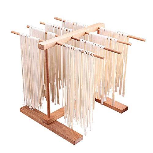 Tqing Tagliatelle Rack per la pressatrice per la pressatura della Famiglia, Accessori Pieghevole Pieghevole Retrattile in Legno di faggio Pasta per Asciugatura Rack Spaghetti
