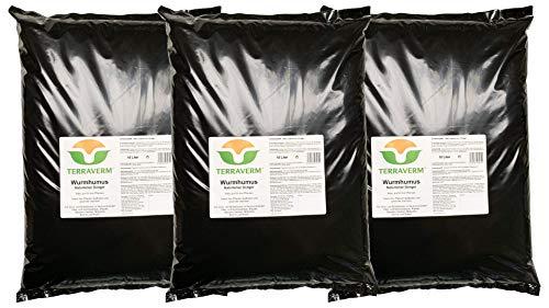 30 Liter TerraVerm Wurmhumus -Pflanzenerde für Balkon und Garten -Dünger für Hochbeet, Kräuter, Gemüse, Blumentopf - chemiefrei - biologisch, organisch, natürlich