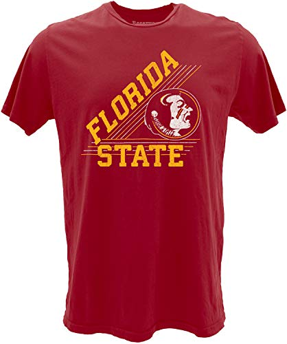 Reserve Collection by Blue 84 NCAA Florida State Seminoles Mens Vintage Ringspun Cotton Vault T Shirt, Florida State Seminoles Garnet, Large