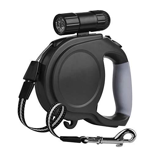 Laxus Einziehbare Hundeleine, Roll-Leine 26 ft(8m) Ergonomische ausziehbare Hundeleine Walking Trainingsleine mit Abnehmbarer Taschenlampe für kleine mittelgroße Hunde bis max.50kg