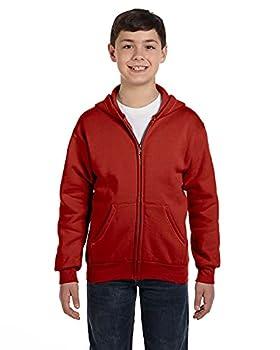 Hanes Boys  EcoSmart Full Zip Hooded Jacket Deep Red x Small