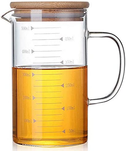 DayCount Glass Beaker with Handle and Lid Glass Measuring Cup with Hand Grip Glass Measure Cup product image