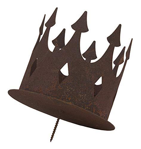 Ecosoul Tuindecoratie Kandelaar kroon met pin voor bevestiging schroef boomstam Decoratie Landhuis Vintage rustieke theelichthouder metaal roestdecoratie klein roest