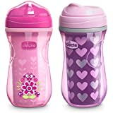 Chicco Insulated Rim Spout Trainer Spill Free Baby Sippy Cup, 12 Months+, Pink/Purple, 9 Ounce (Pack of 2)