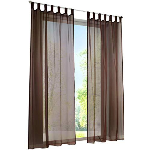 ESLIR Gardinen mit Schlaufen Vorhänge Fensterschal Transparent Schlaufenschal Voile Braun BxH 140x225cm 1 Stück