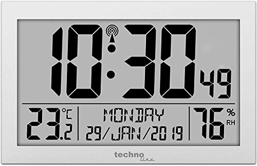Technoline WS 8016 - Orologio digitale da parete con indicatore di temperatura e umidità (argento con batterie)