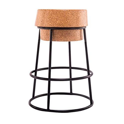GLJMTY Silla De Bar De Hierro Forjado Creativa, Asiento De Corcho Redondo, Mostrador De Desayuno Moderno Y Sencillo, Mostrador De Café, Taburete Alto, Soporte De Metal Resistente