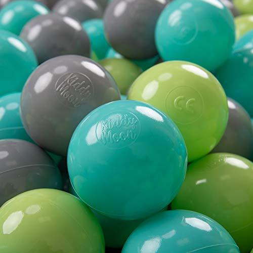 KiddyMoon 300 ∅ 7Cm Bolas Colores De Plástico para Piscina Certificadas para Niños, Verde Claro/Turquesa Claro/Gris
