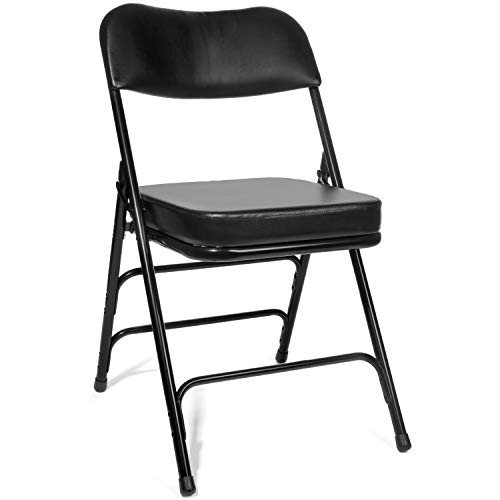 """XL Series Vinyl Upholstered Folding Chair (2 Pack) - Heavy Duty Ultra Padded 2"""" Thick Padded Seat and Back, Triple Braced - Quad Hinging, 300 lb Tested (Black)"""