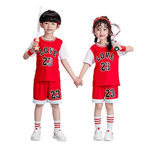 Basketball Jersey Jungen Mädchen Kinder Sommer 2 STK. Weste und Shorts Set Teens Trainingsanzug Sportswear Basketball Weste Jersey-red-S