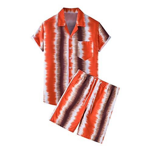 Traje de chándal hawaiano de 2 piezas para hombre con botones, manga corta y pantalones cortos de ajuste regular