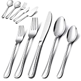 65-Piece Silverware Set with Serving Utensil, E-far Stainless Steel Modern Flatware Cutlery Set Service for 12, Tableware Includes Dinner Forks/Knives/Spoons, Mirror Polished, Dishwasher Safe