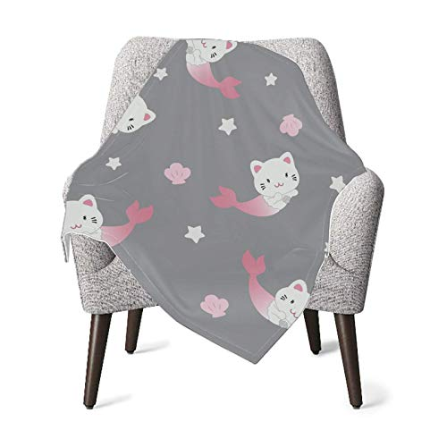 XCNGG Mantas para bebés edredones para bebésBaby Blanket Cute Cat Mermaid Decorated Shell Star Soft Baby Blankets Receiving Blanket for Toddler Bed, Crib, Stroller, Nursery Bedding Essentials 30x40in