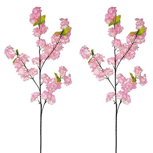 AIVORIUY 4pcs Ramas de Flores de Cerezo Artificiales, Ramo con Flor de Melocotón Artificial...