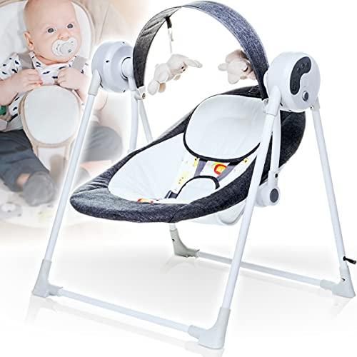 Elektrische Babyschaukel (vollautomatisch) mit 12 Melodien (Lautstärke regelbar), 3 Timerfunktionen und 5 Schaukelgeschwindigkeiten (ANTHRAZIT)