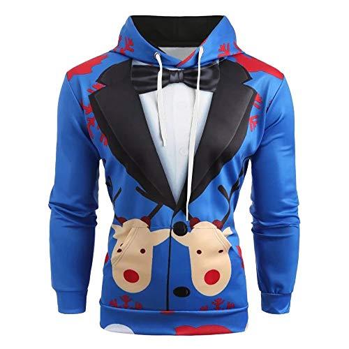BOLANQ Weihnachtsbluse Männer Weihnachten Anzug Muster 3D Print Langarm Hoodie Caps Sweatshirt Pullover(XXXX-Large,Blau)