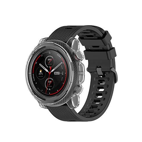 SIKAI CASE Funda Protector Compatible con Huami Amazfit Stratos 3 A1928 Smart Watch, Anti-rasguños Adapta Protectora, TPU Cubierta, Dura Resistente a los Golpes Shell Proteccion (Transparente Blanco)
