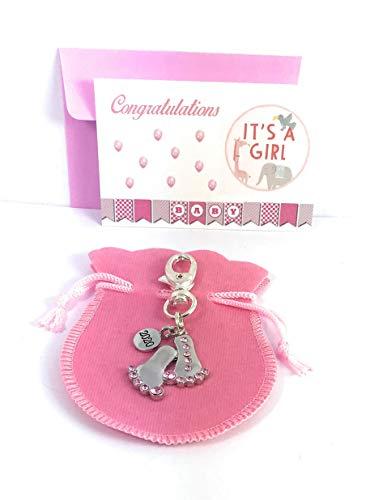 Pieds de bébé 2018 avec porte-clés en strass roses avec sac cadeau fabriqué à la main par Libby's Market Place