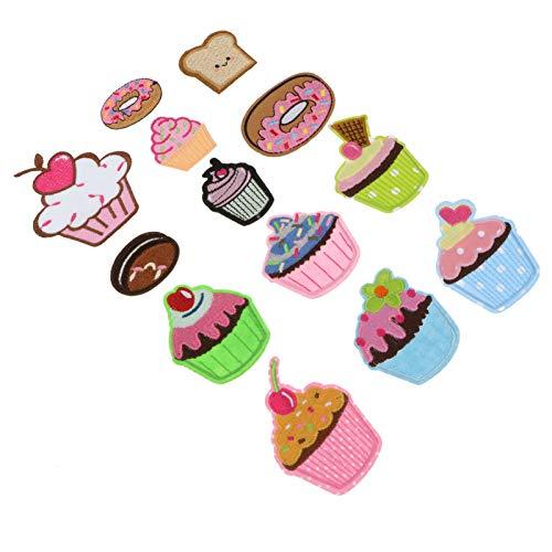 EXCEART 13Pcs Ice Cream Cupcake Tyglar Plåster Sticker Tecknad Broderade Munkplåster För Järn På Sy Barn Kläder DI Y Broderiplåster Hantverksdekoration