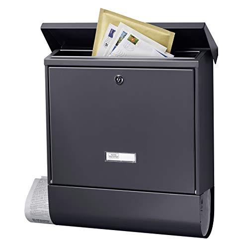 BURG-WÄCHTER Briefkasten mit Zeitungsbox und Namensschild, A4 Einwurf-Format, EU Norm EN 13724, Inkl. 2 Schlüsseln, Rostfreier, AMZ 2500 ANT, Anthrazit (RAL 7016)