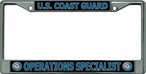 U.S. Coast Guard Operations Specialist Chrome License Plate Frame