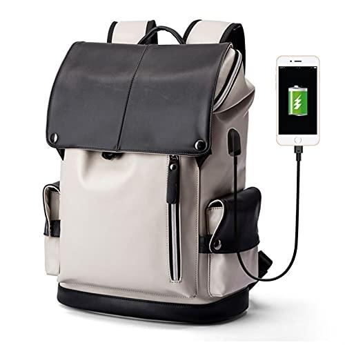 HFQJTU Mochila de la computadora portátil con la Carga de la Escuela Resistente al Agua de Carga USB con la Correa de Hombro Acolchada Transpirable Regalos para Hombres (15.6') (Color : Black)