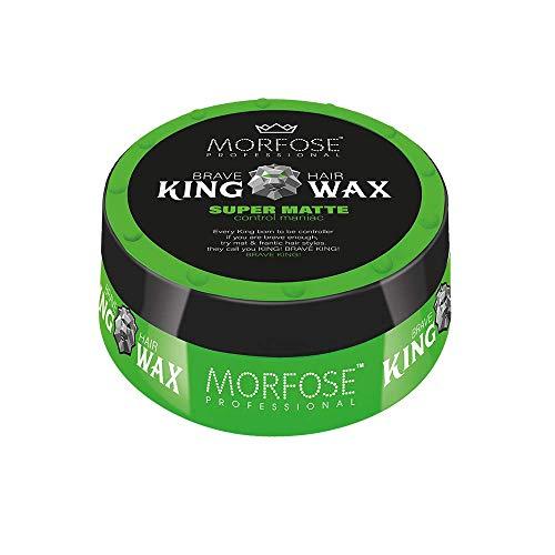 Morfose King Hair Wax 175ml Haarwachs Mad,Lion,Wise,Dark,Brave Haargel Matt Gel-Wax Haar Styling (1x Super Matte (Grün))