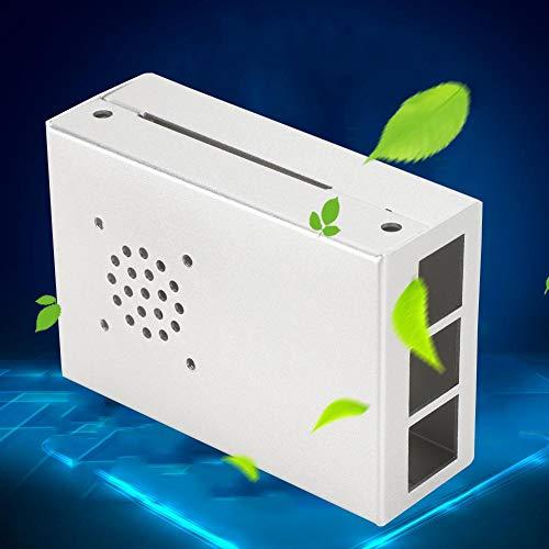 Qioni Sturdy and Durable Aluminum Alloy Case, For Raspberry Pi Case, for Raspberry Pi 4B(Silver)
