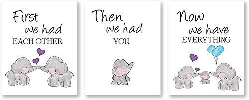 KAIRNE 3er Set Kinderzimmer Poster Elefant, Babyzimmer Deko Bilder, Kinderposter Tiere für Jungen und Mädchen, Tiere Kinderbilder, Sprüche Familie Love Wandbilder Kinder für Schlafzimmer Zimmer