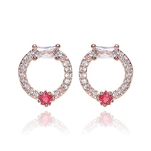 SAVIAURA Luxury AAA+ Cubic Zirconia Small Stud Earrings, Valentine Gift for Her, Nickel and Lead Free Red Color, pendientes de circón