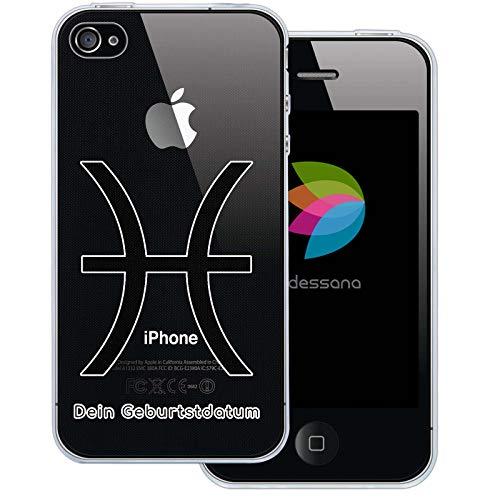 dessana sterrenbeeld met datum transparante silicone TPU beschermhoes 0,7 mm dunne mobiele telefoon soft case cover tas voor Apple, Apple iPhone 4/4S, Vissen verjaardag