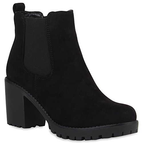 Stylische Damen Boots Stiefeletten Chelsea Boots Knöchelhohe Stiefel Zipper Leder-Optik Booties Schuhe 106118 Schwarz Schwarz 41 Flandell