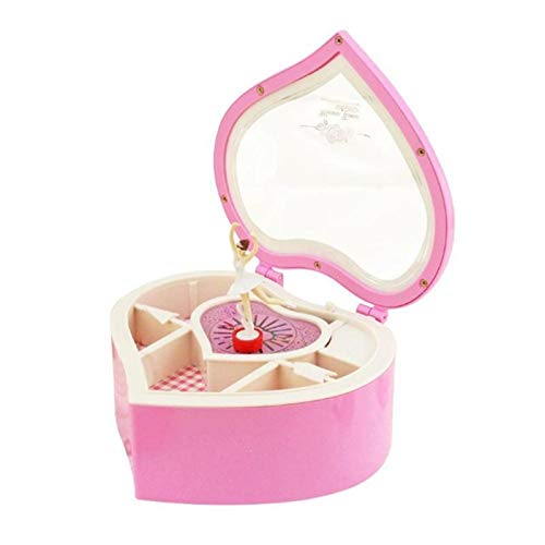 Earthily Forma de corazón Bailando Bailarina Caja de música Caja de joyería de plástico Chicas carrusel Mano manivela Caja Caja de música Regalo (Color : Pink)