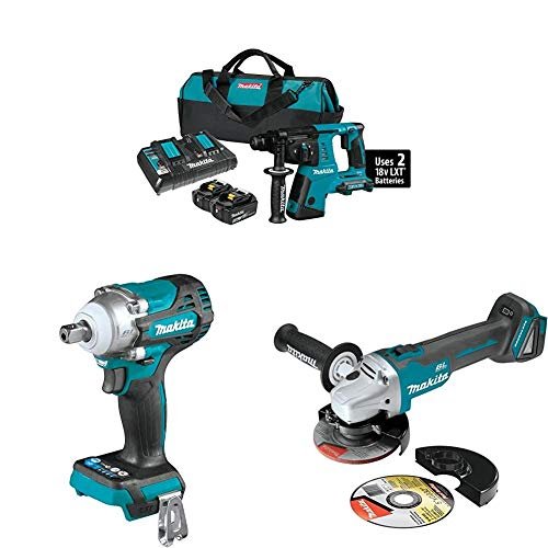 Makita XRH05PT 18-Volt X2 LXT Lithium-Ion (36V) Cordless 1' Rotary Hammer Kit (5.0Ah) with XWT15Z 4-Speed 1/2 inch Sq. Drive Impact Wrench w/Detent Anvil and 4-1/2 inch / 5 inch XAG04Z Angle Grinder