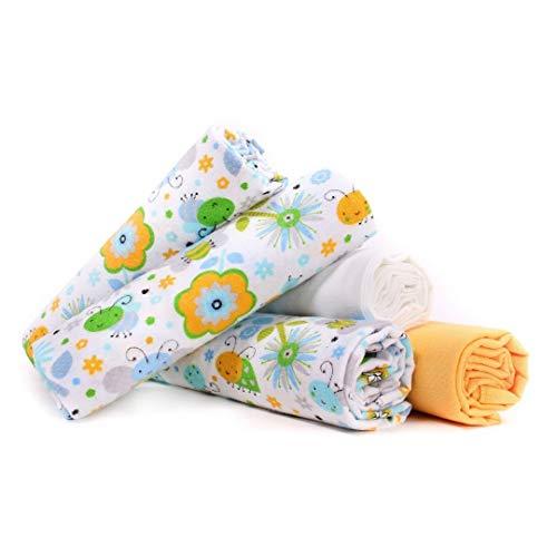 Lulando Pannolini Lavabili in Flanella Confezione da 5 Dimensioni 70 X 80 Cm, Copertine, Teli in Flanella per Neonato, Pannolini Riutilizzabili Ideali Come Asciugamani o Avvolgente