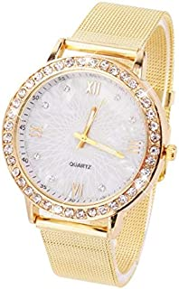 WhiteswanauPrecise Quartz Movement for Accurate Time Keeping Women's Crystal Round Quartz Stainless Steel Mesh Band Wrist Watch Gift with Gold Color