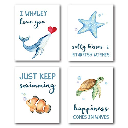 XUWELL Sea Quotes Ocean Animals Wall Art Prints, Sea Turtle Starfish Fish Whale Art for Nursery Kids Bathroom Decor, 8 x 10 Inch Set of 4 Prints, Unframed