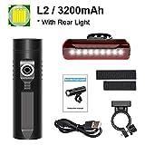 Bicicleta de la luz 3200mAh kit de luz de bicicletas P90 P50 L2 linterna for la bicicleta T6 USB recargable batería de ciclo ligero Como banco de la energía-P50_3200Mah (Color : L2 3200mah Set)