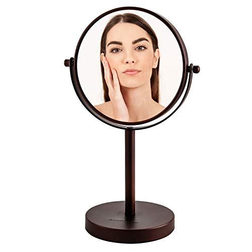 Ovente Tabletop Makeup Vanity Mirror 6 Inch with 1X7X Magnification and Double-Sided Mirror with Distortion-Free View, 360 Degree Swivel Design, Antique Bronze (MNLT60ABZ1X7X)