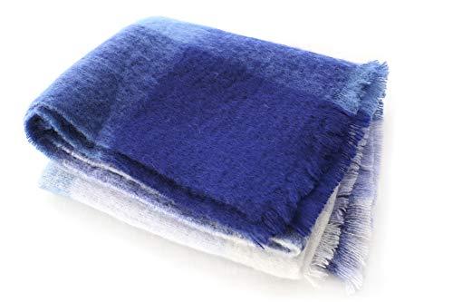 Biddy Murphy Überwurf, Überwurf, Mohair-Decke, hergestellt in Irland, 137,2 x 182,9 cm, 70 % Mohair, 30 % irische Wolle, hergestellt von John Hanly & Company in Co. Tipperary, Irland Blau/Weiß kariert