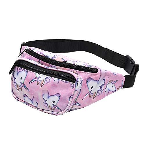 Giddah Bauchtasche Damen Waistbags für Frauen Einhorn & Flamingo Mode Hip Bum Taschen mit Reißverschluss Flach Reisen Sport Hüfttasche (Einhorn)
