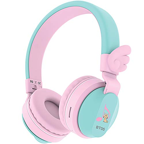 Riwbox BT05 Bluetooth Kids Headphones Wireless Foldable Headset Over Ear with Volume Limited and Mic/TF Card Compatible for iPad/iPhone/Tablet (Pink&Green)