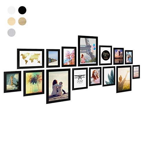 PHOTOLINI 15er Bilderrahmen-Collage Basic Collection, Modern, Schwarz, aus MDF, inklusive Zubehör/Foto-Collage/Bildergalerie/Bilderrahmen-Set