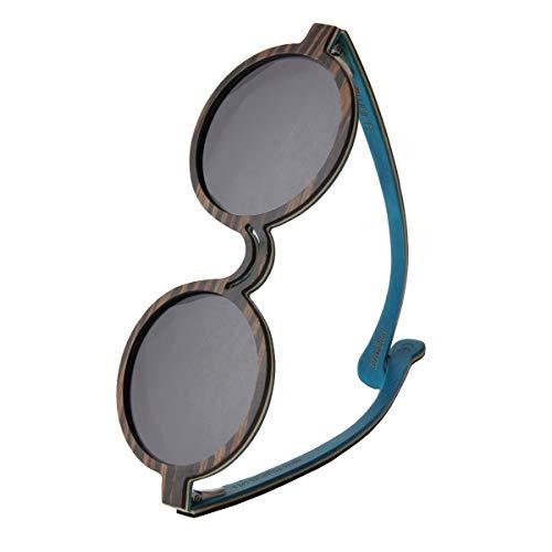 WOLA ONDA Holz Sonnenbrille Damen rund Ebenholz blau grau Cat. 3 UV 400 UVA UVB